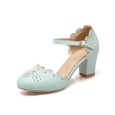Pumps Beiläufige Niedrige Ferse Knöchel Schnalle Falbala Mädchen Pumps Schuhe Frauen Pumps (39, Weiß)