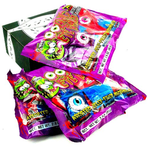 Oozing Eyeballs Jelly-Filled Marshmallow Candy, 2.8 oz Bags in a BlackTie Box (Pack of 3) ()