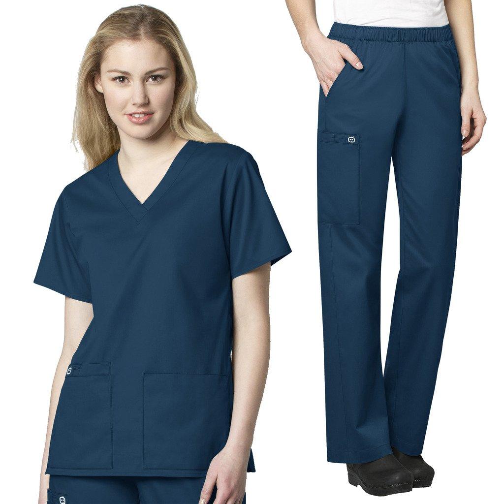 WonderWink Women's Scrubs V-Neck Chest Pocket Top & Pull On Cargo Pant Set + FREE GIFT SOCKS