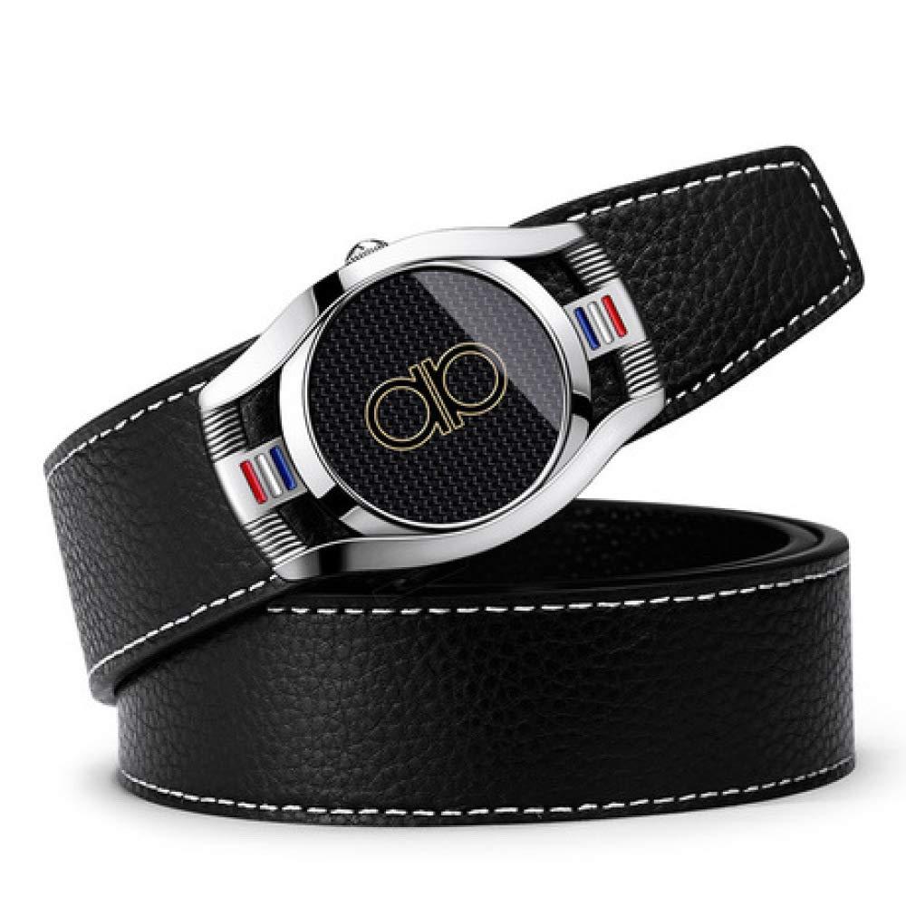 DENGDAI Automatic Buckle Belt Leather Belt Mens Belt Length 110-130cm