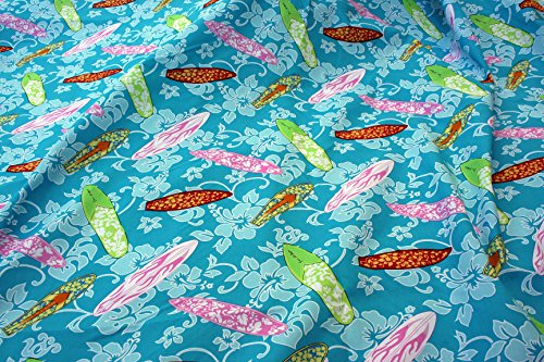 Surfboard Hawaiian Fabric - Light Blue Surfboards Design - 55