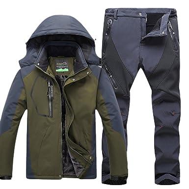finest selection 5b479 ae0f5 Qitun Herren Wasserdichte Warm Regenjacke Outdoor Jacke Funktionshosen  Wasserdicht warm Skihosen Trekkinghose Kit