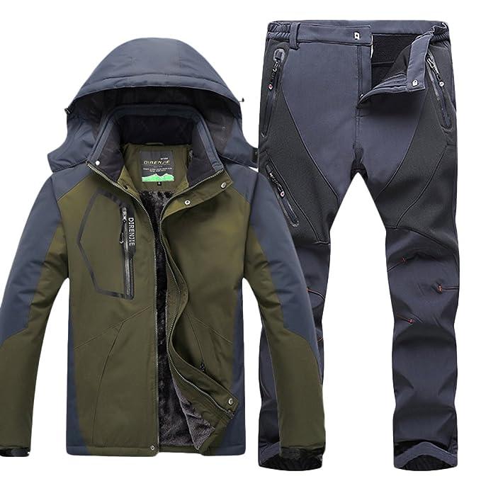 Qitun Hombre de Trekking Impermeable Deportivos Transpirable Pantalones Chaqueta de Esquí Impermeable Chaqueta de Nieve Excursionismo Conjunto Verde ...