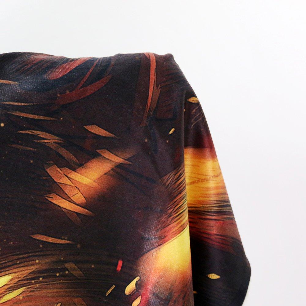 Sleepwish Fire and Ice by JoJoesArt Wolf Sherpa Blanket Blue Orange Animal Print Plush Blanket Thick Machine Washable 60''x80'' by Sleepwish (Image #4)