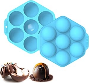 Elegital Hot Cocoa Bomb Mold, 2pcs 7-Cavity Large Silicone Circle Molds for Hot Chocolate Bomb, Non-Stick Food Grade Half Sphere Silicone Mold for Candy, Muffin, Cookie, Cake, Jelly, Pudding (Blue)