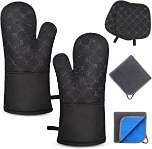 TAOSANHU Oven Mitts and Pot Holders Sets, Heat Resistant 500 Degrees Kitchen Gloves with 2 PCS Kitchen Towels & 2 PCS Hot Pot Holders, Non-Slip Surface & Cotton Lining for Cooking, BBQ, Baking - Black