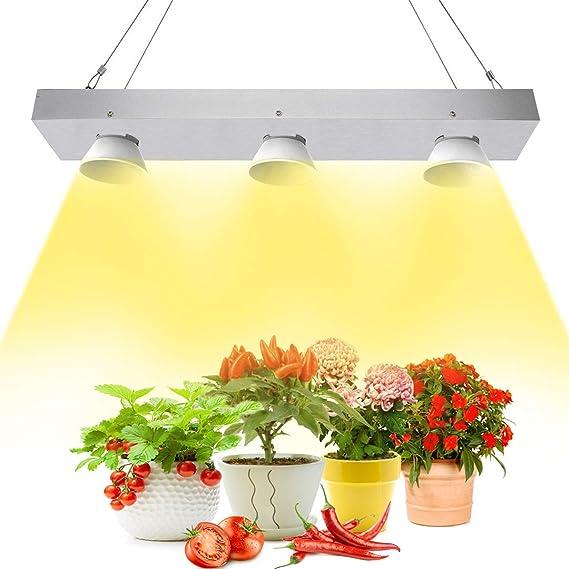 Niello COB LED Grow Light, 600 W Sunlike Full espectro LED lámpara para plantas con copa reflectante, alta PAR y lámpara de crecimiento de alta lúmenes, no Noisy Plant Light for Hydroponics