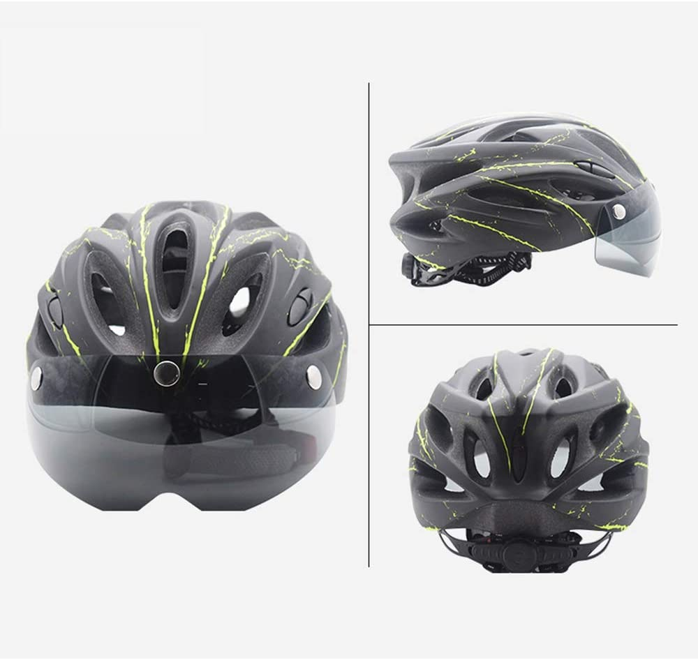YDYL-LI Cascos Gafas de equitación, Ciclo Casco MTB monopatín de Bicicletas Vespa Hoverboard Casco Adecuado para Montar a Caballo al Aire Libre y montañismo (56-61Cm),Black and Green