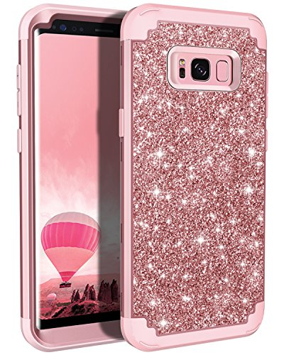 Lontect Compatible Galaxy S8 Plus Case Luxury Glitter Sparkle Bling Heavy Duty Hybrid Sturdy Armor High Impact Shockproof Protective Cover Case Samsung Galaxy S8 Plus - Shiny Rose Gold