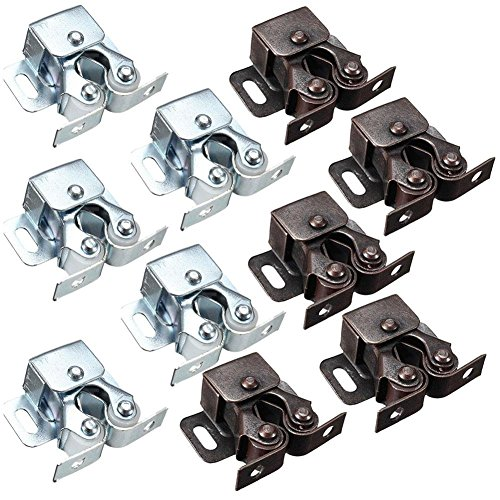Cupboards Door Double (Kicode 10 Pack Double Roller Catch Cupboard Cabinet Door Latch Hardware Stainless Steel Home Kitchen Tools)