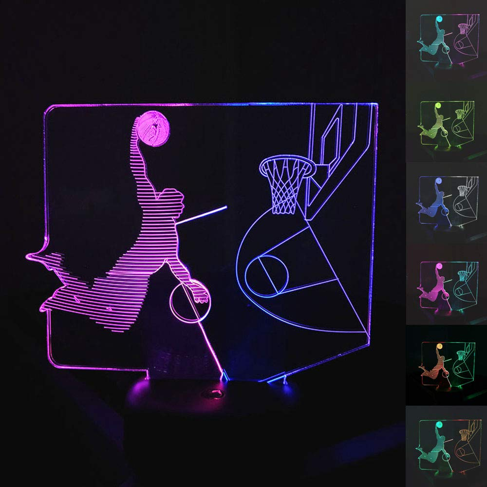 SZLTZK Christmas Gift Dual Color 3D LED Boy Slam Dunk Night Light 7 Color Touch Switch with Battery Compartment USB Cable Table Desk Baby Nursery Lamp Home Decor Birthday Present for Kids Boy Girl