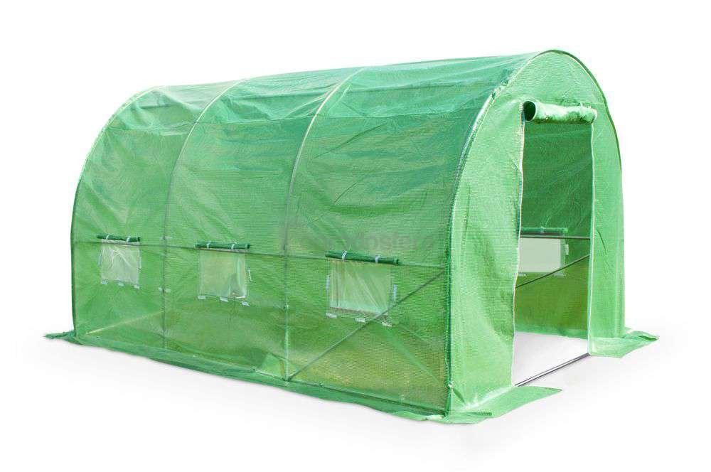 Garden Point 3M(L) x 2M(W) x 2M(H) Green Polytunnel Greenhouse with Galvanised 25mm Diameter Steel Frame (Green)