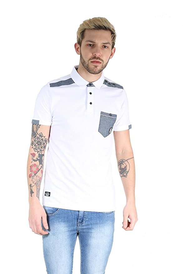 Rawcraft Mens Cap Sleeve Collared Front Pocket Contrast Patch Shoulder T Shirt