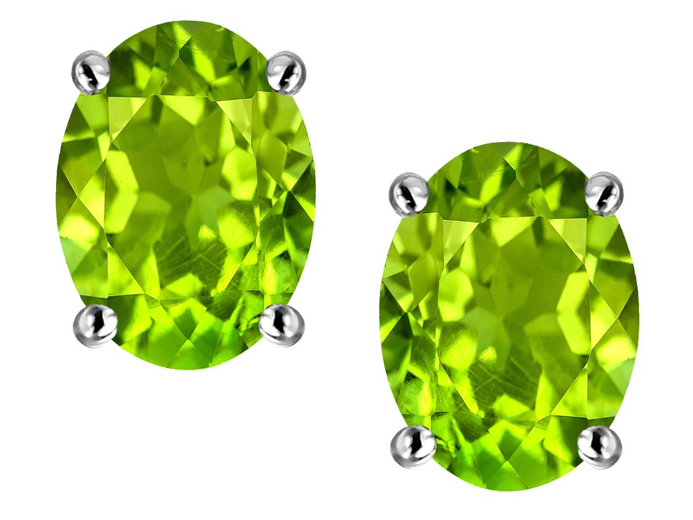 Star K Oval 8x6mm Simulated Peridot Earrings Studs Sterling Silver by Star K (Image #1)