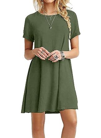da1a8dab HPYLove Women's Summer Casual Plain Short Sleeve Cute Swing T-Shirt Loose  Dress (Army