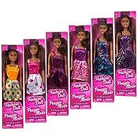 """Muñecas de moda afroamericanas, 11 """". Juego de 6 con ropa diferente. Preséntalos a tu colección. Grandes favores para los regalos de la fiesta de cumpleaños."""