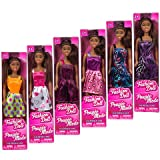 """African-American Fashion Dolls, 11"""". Set involving 6 with different clothes. Create them to your collection. Good favors for Birthday celebration gifts."""