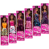 """African-American Fashion Dolls, 11"""". Set of 6 with different clothes. Introduce them to your collection. Great favors for Birthday Party gifts."""