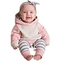 OVERMAL 3pcs Toddler Baby Boy Girl Clothes Set Hoodie Tops+Pants+Headband Outfits