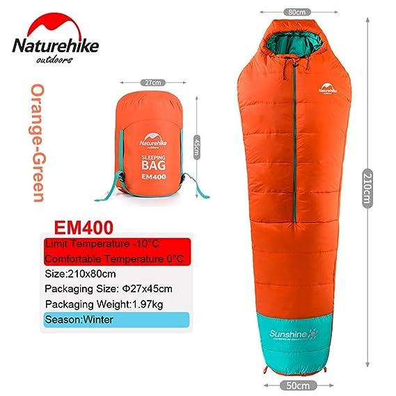 0 grado ligero momia saco de dormir al aire libre Camping algodón saco de dormir, OrangeEM400: Amazon.es: Deportes y aire libre
