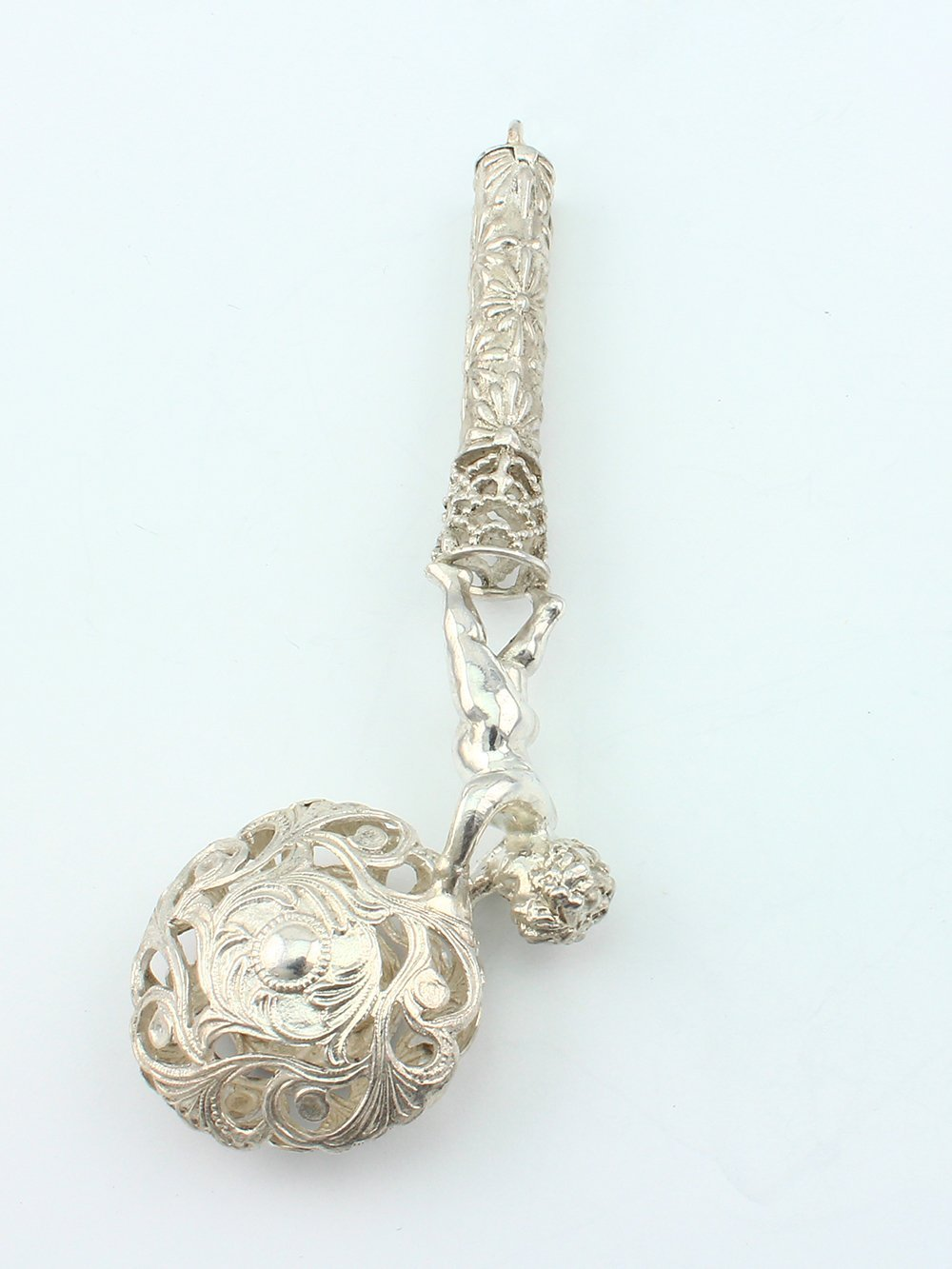 Silver Handmade Rattle A boy with a ball