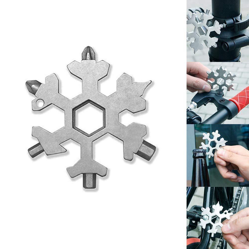 Multi-Tool in Acciaio Inox, Mini Portable Snowflake Multi Tool, cacciavite Bottle Opener Keychain Anti-Lost Incredible 15-in-1 Tool Regalo di Natale OVTAI