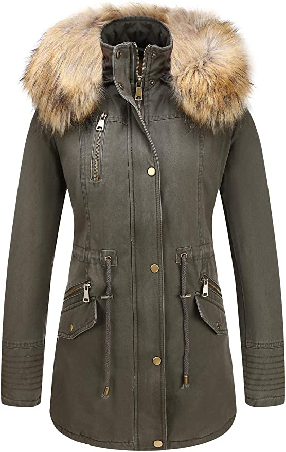 Libland Womens Parka Jacket with Faux Fur Collar,Warm Women Winter Coats Hooded
