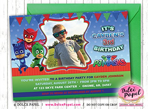 Image Unavailable Not Available For Color 10 PJ Masks Birthday Party Invitations