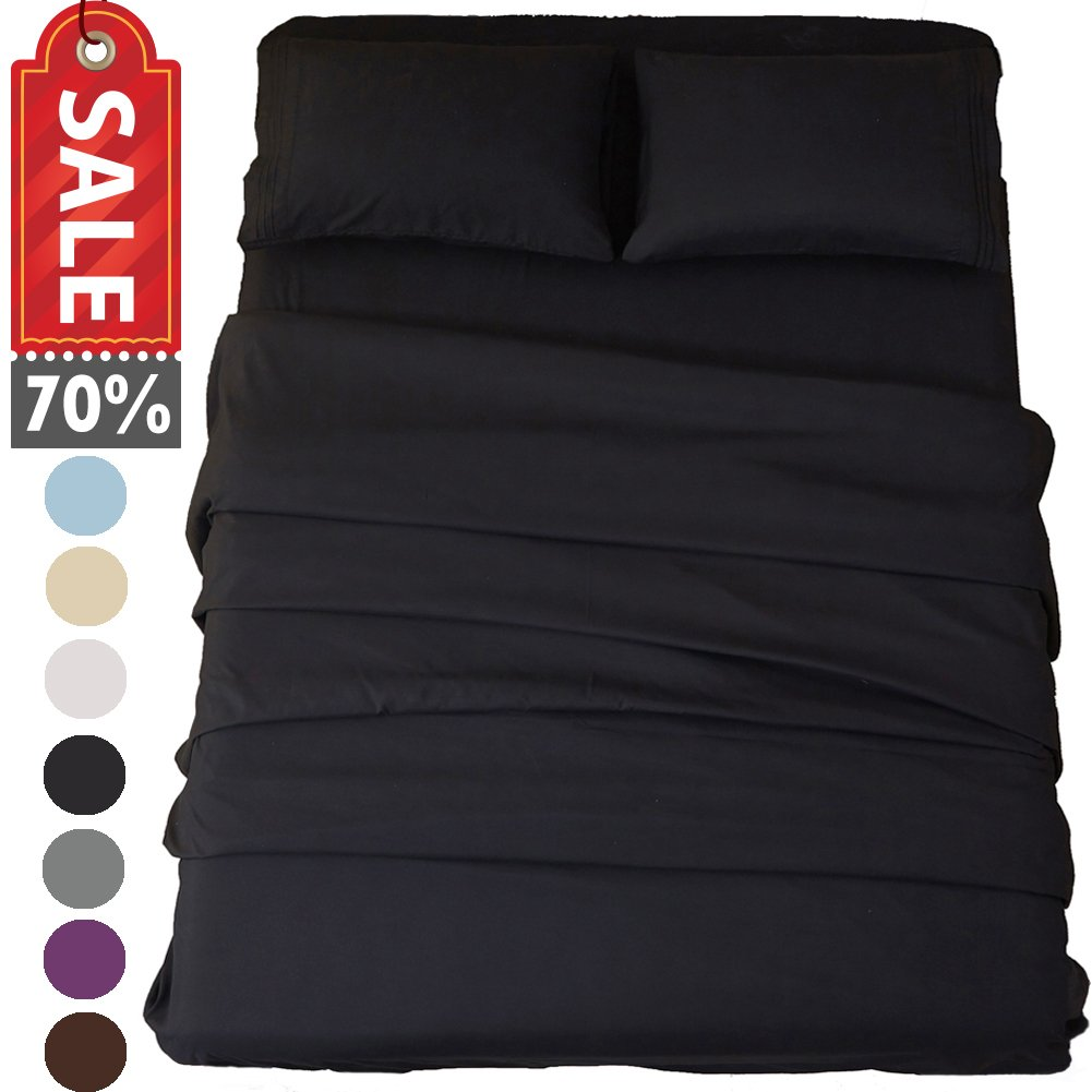 Sonoro Kate Bed Sheet Set 4 Piece Full Black