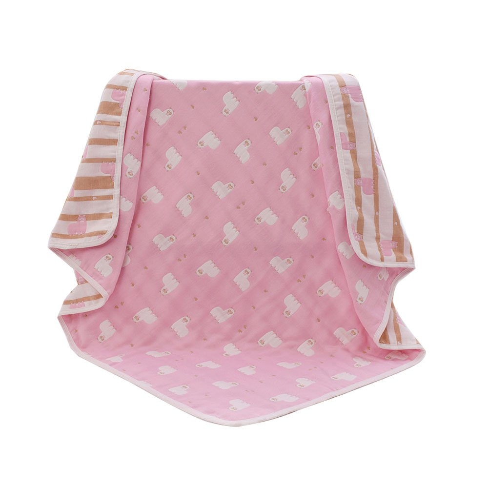 Lightweight/Portable Baby Ultra Soft Bed Quilt Crib Blanket All Weather For Babies Or Toddler,Organic Muslin Cotton Quilts/Blankets/Comforter (Pink Alpaca)