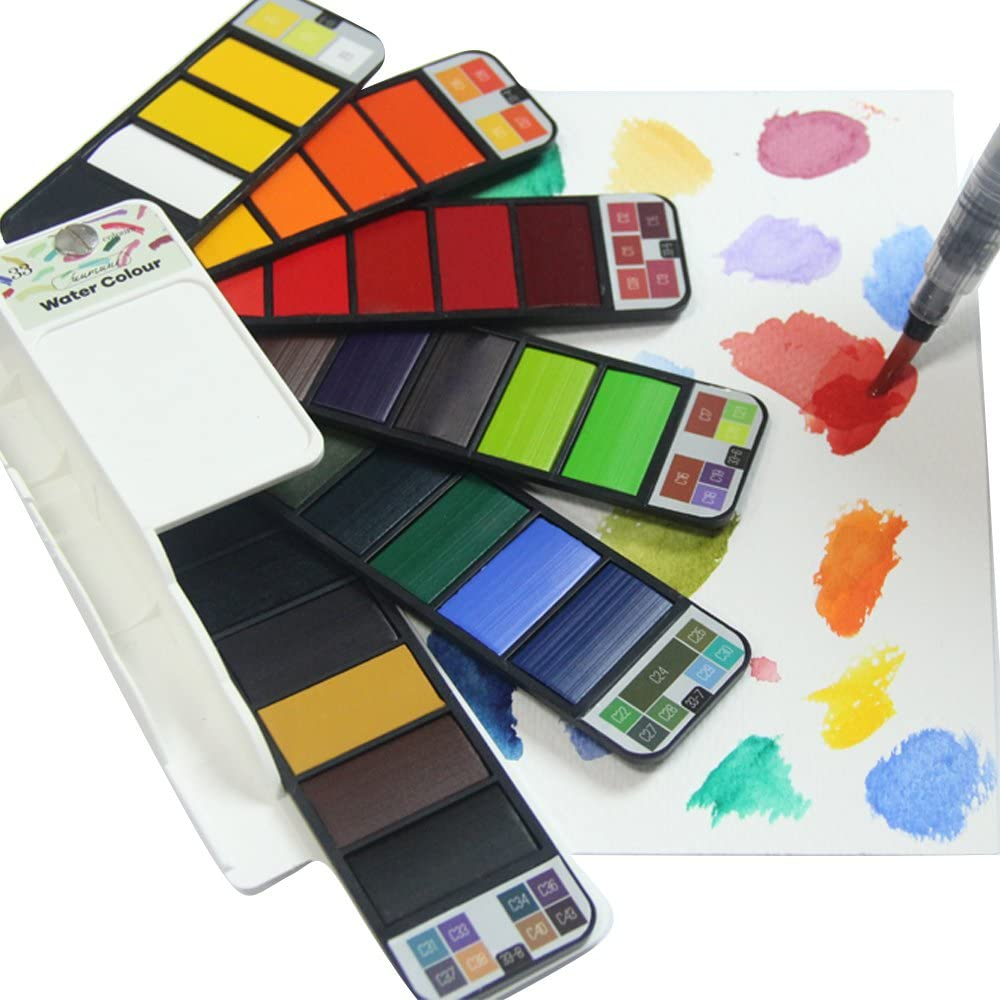 Fuumuui Pocket Watercolour Paint Set 33 Assorted Water Colours Travel  Portable Field Kit with Paint Brush,Gift for Painting On The Go:  Amazon.co.uk: Kitchen & Home