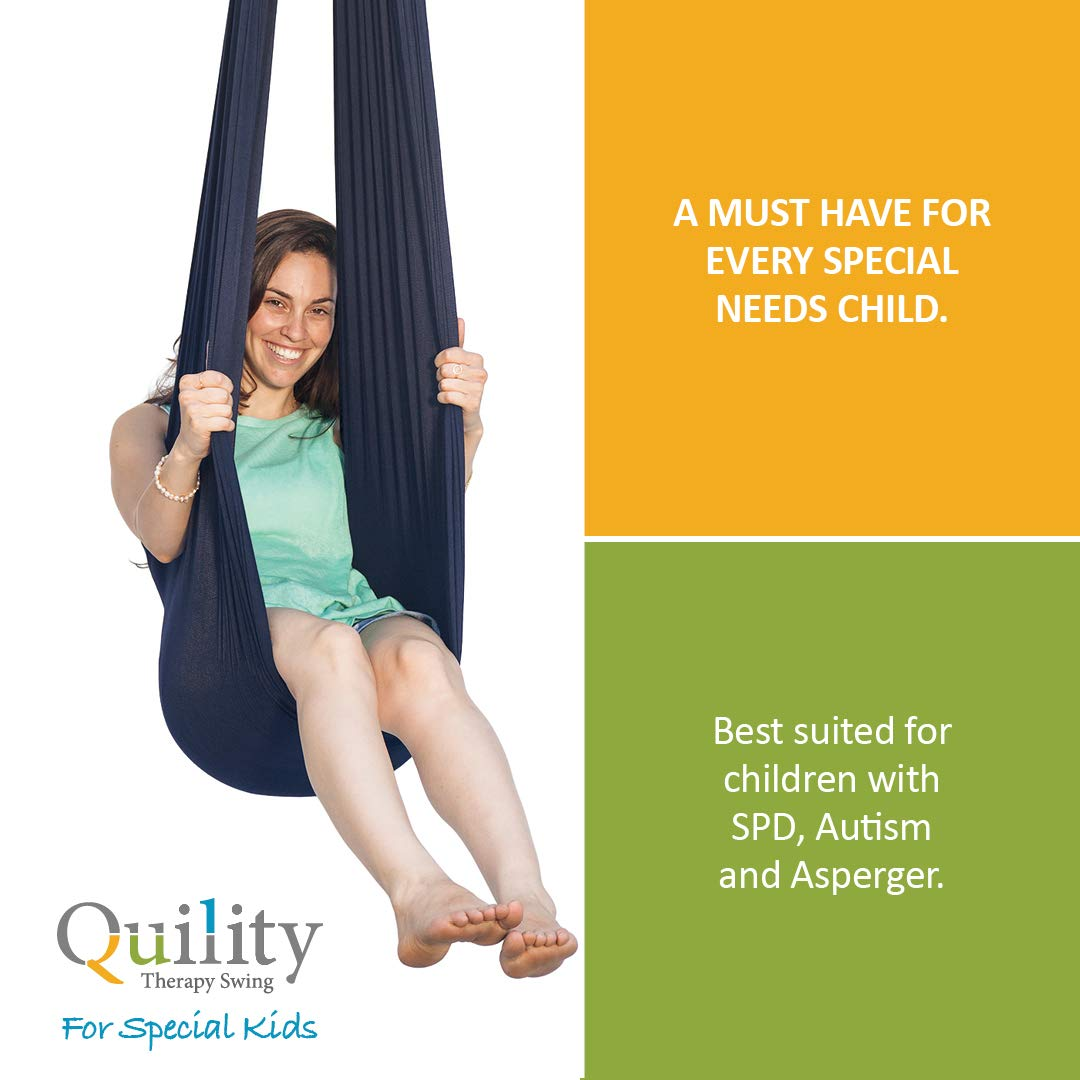 Aspergers Cuddle Hammock for Children with Autism Quility Indoor Therapy Swing for Kids with Special Needs Lycra Snuggle Swing Ideal for Sensory Integration Up to 77lbs, Dark Blue ADHD