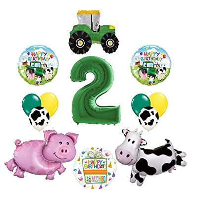 Tractor and Farm Animals 2nd Birthday Party Supplies Balloon Bouquet Decorations: Toys & Games