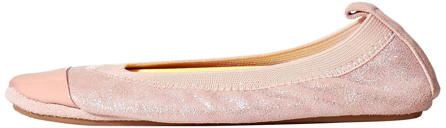 Yosi Samra KSC-234-111 Scarlet Glitter Two-Tone Leather Kids Ballet Flats