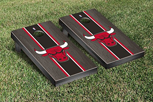 Chicago Bulls NBA Basketball Cornhole Game Set Onyx Stained Stripe Version by Victory Tailgate