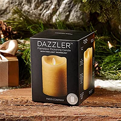 "Two's Company Dazzler Twin Light LED Flameless Flickering Wax Candle 5"" Pillar (Gold)"
