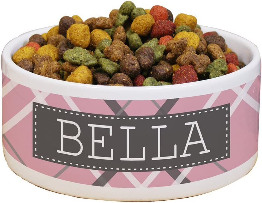 GiftsForYouNow Plaid Personalized Pet Food Bowl