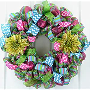 Spring Flower Wreath | Summer Everyday Deco Mesh Door Wreath | Pink Turquoise Lime Green 98