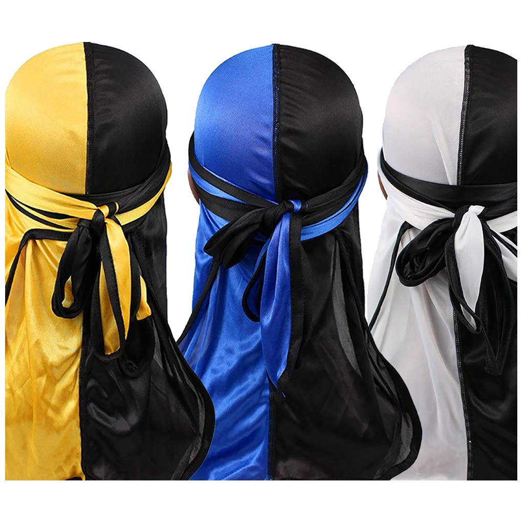 YI HENG MEI 2PCS/3PCS 360,540,720 Waves Color Block Silky Long Tail Durag Bandana Turban,Group 10(3pcs)