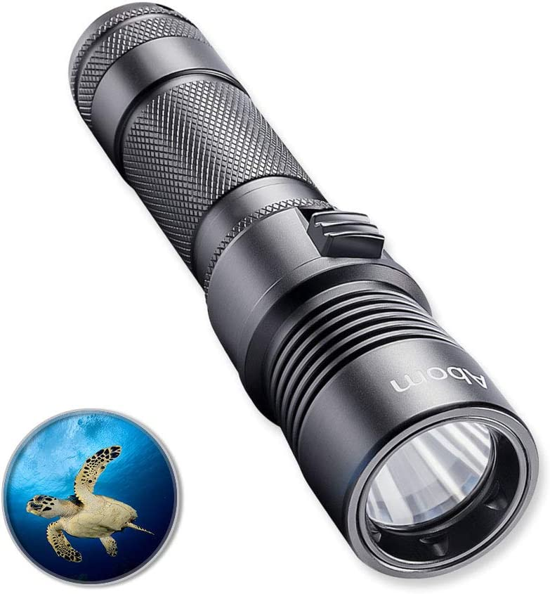 Abom Pro Diving Flashlight Kit, 1000 Lumen Bright LED Submarine Light Scuba Safety Lights Waterproof Underwater Torch with Rechargeable Battery for Outdoor Under Water Sports, Black