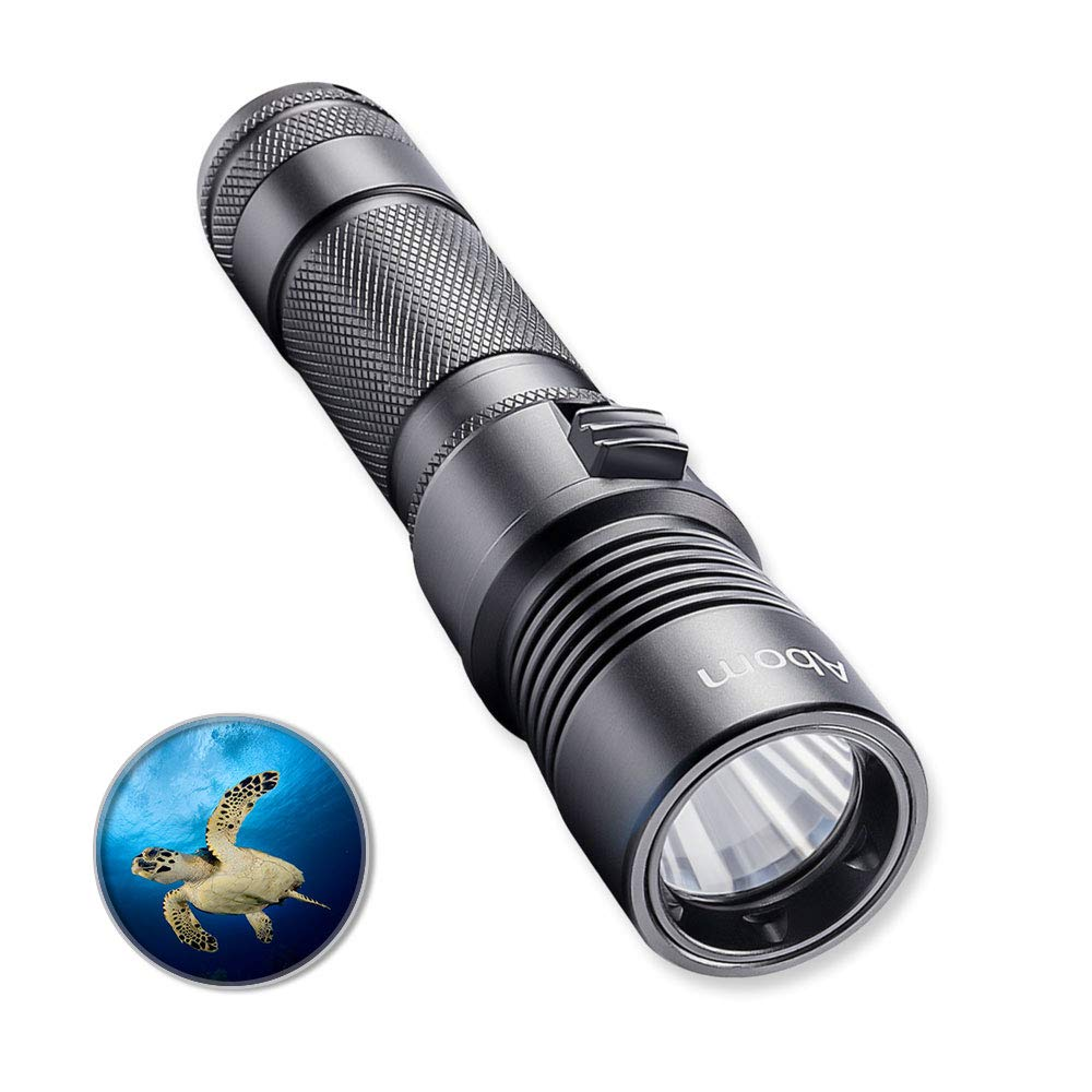 Abom Pro Diving Flashlight Kit, 1000 Lumen Bright LED Submarine Light Scuba Safety Lights Waterproof Underwater Torch with Rechargeable Battery for Outdoor Under Water Sports, Black by Abom