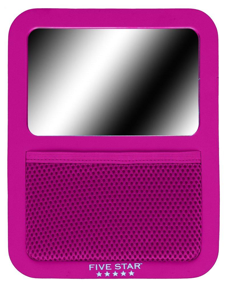 Five Star Locker Accessories, Magnetic Locker Mirror with Storage Pocket, 7 ''x 9'', Berry Pink/Purple (72586)