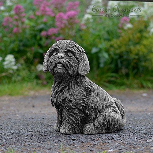 Nice Shih Tzu Cast Stone Dog Garden Ornament Statue Sculpture Pillar Cap