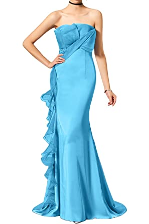 DressyMe Womens Elegant Evening Dresses Slim Strapless Organza Ruffles-6 -Blue