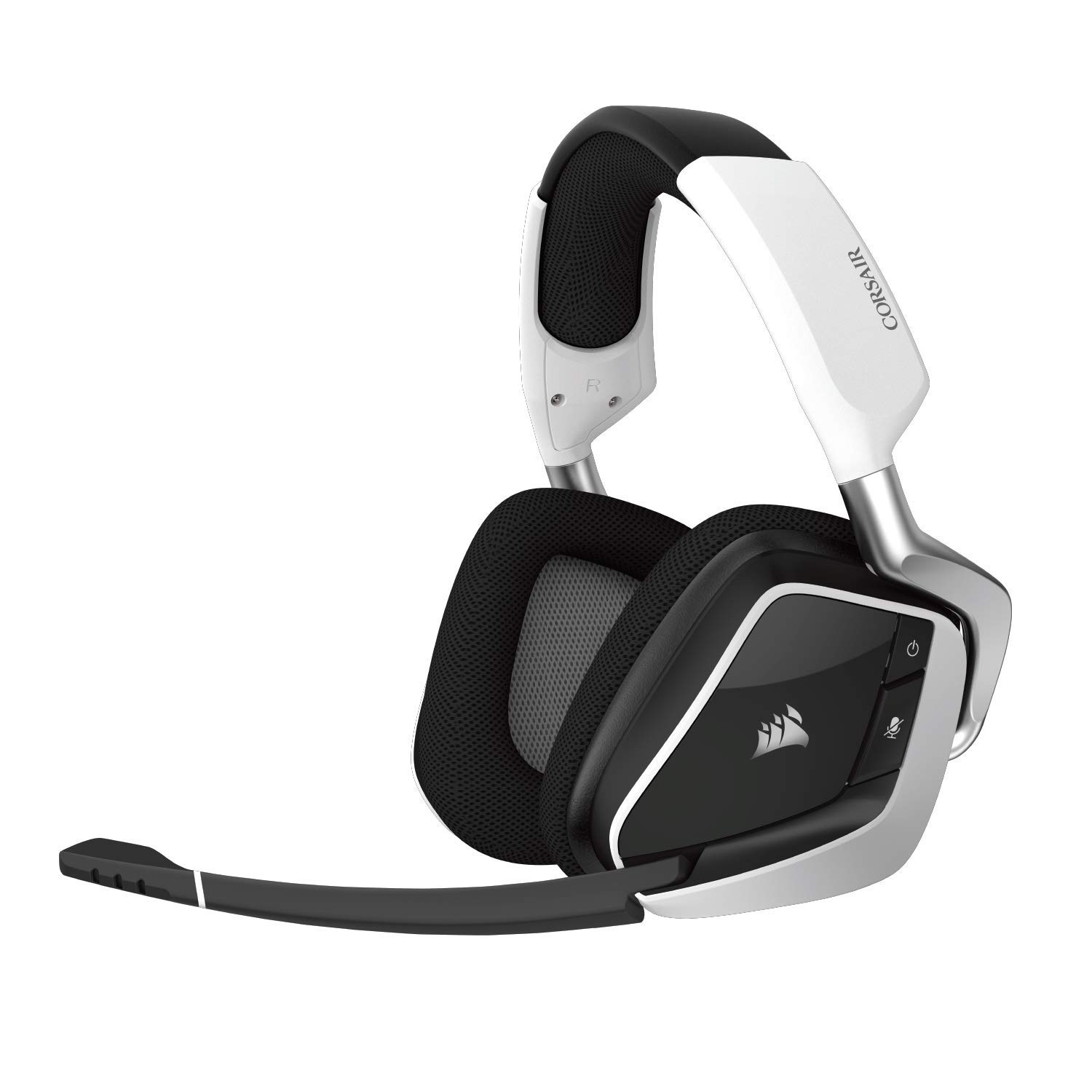 CORSAIR VOID PRO RGB Wireless Gaming Headset – Dolby 7.1 Surround Sound for PC – Discord Certified – White + RGB Headset Stand