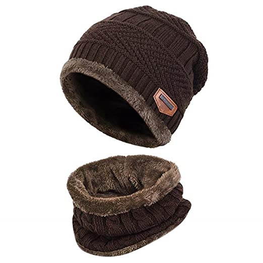 921fcb4d8b4 Acexy Warm Knitted Hat and Circle Scarf Set OutdoorsScarf Beanie Skull Cap  For Winter (Coffe