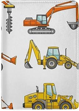 Bulldozer Truck Blocking Print Passport Holder Cover Case Travel Luggage Passport Wallet Card Holder Made With Leather For Men Women Kids Family Crane Forklift Excavator Tractor