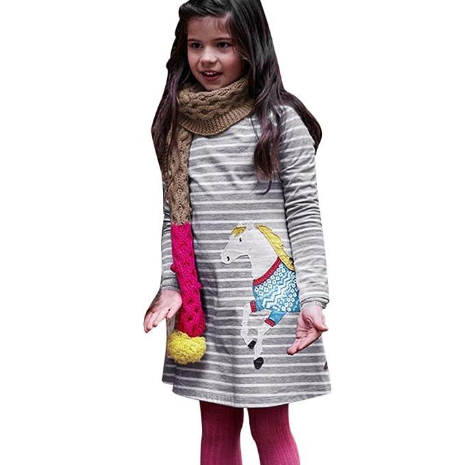 Bebé niña dibujos Caballo raya apliques bordado Gris vestido ,Yannerr Hija recien nacido fiesta princesa