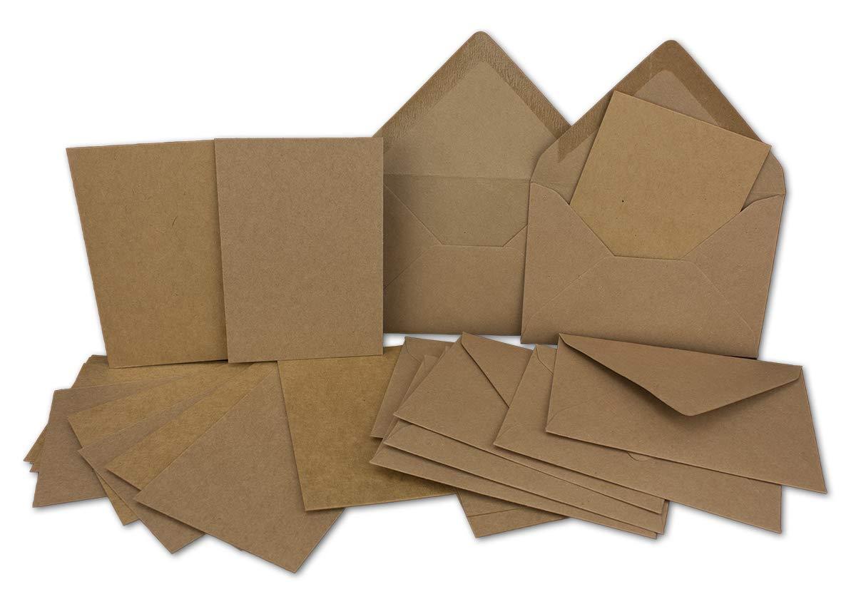 100x Stück Karte-Umschlag-Set Kraftpapier-Einzel-Karten Din A7 10, 5x7, 3 cm 410 g/m² braun mit Brief-Umschlägen C7 Nassklebung ideale Geschenkanhänger Neuser