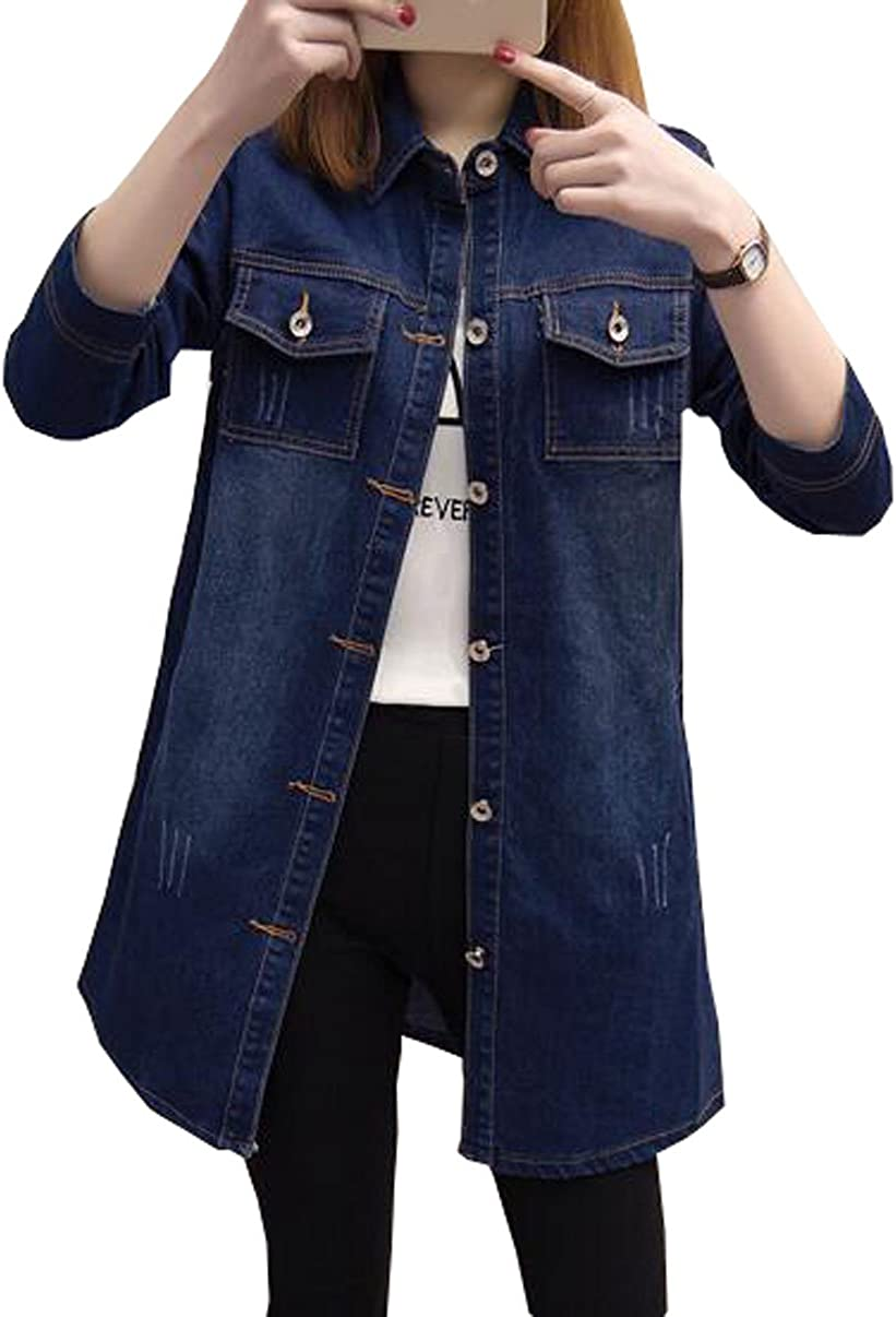 MYtodo Womens Casual Denim Jacket Long Sleeves Solid Color Blouse Cardigan